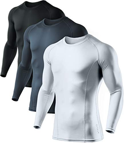 ATHLIO Men's Cool Dry Fit Long Sleeve Compression Shirts, Active Sports Base Layer T-Shirt, Athletic Workout Shirt, 3pack Round Neck(bls01) - Black/Charcoal/White, Large