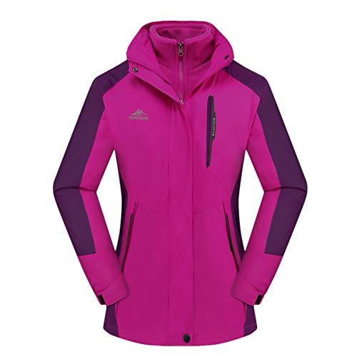 Women's 3 in 1 Jacket Mountain Waterproof Jackets Windproof Rain Jackets Thermal Jackets with Thermal Liner(Hot Pink, XL)
