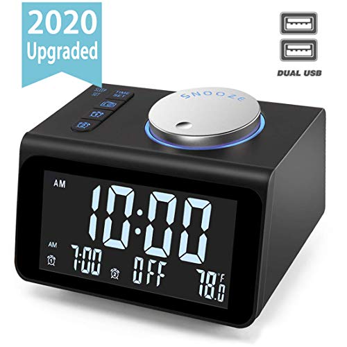 Upgraded Digital Alarm Clock, with FM Radio, Dual USB Charging Ports, Temperature Detect, Dual Alarms, Snooze, 5-Level Brightness Dimmer, Batteries Operated, for Bedroom, Small Sleep Timer