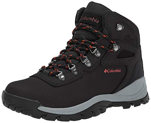 Columbia Women's Newton Ridge Plus Hiking Boot, Black/Poppy Red, 8.5 Regular US
