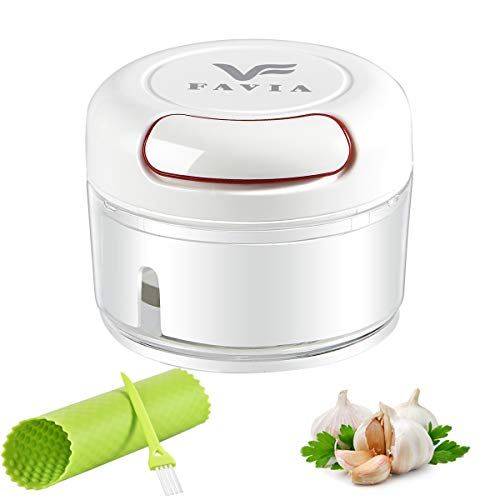 FAVIA Mini Garlic Chopper Manual Food Processor Pull String with Bonus Garlic Peeler and Cleaning Brush BPA Free Dishwasher Safe (0.6 Cup)