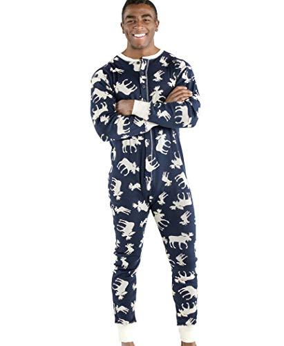 Classic Moose Blue Adult Flapjack Onesie Pajamas by LazyOne   Adult Kid Infant Dog Family Matching Pajamas (Medium)