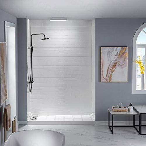 WOODBRIDGE SWP603696-1-SU-H Solid Surface 3-Panel Shower Wall Kit, 36-in L x 60-in W x 96-in H, Staggered Brick Pattern, High Gloss, White, x x