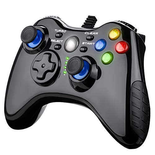 Wired PC Game Controller,Video Game Gamepad,with Dual-Joystick,Vibration Motors,7.2 feet USB Cable,Compatible with PC Windows,PS3,Android TV Box (Black)