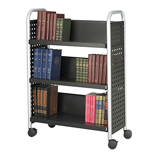 Safco Products Scoot Single-Sided Book Cart Black, Swivel Wheels, 3 Slanted Shelves