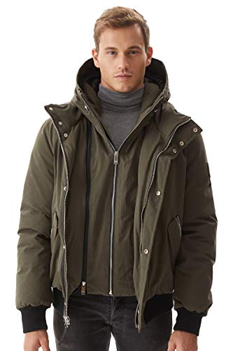 Molemsx Mens Winter Parka, Down Coats for Men Fashion Hooded Classic Down Flight Puffe Jacket Winter Warm Outwear for Cold Weather for Men Khaki Large