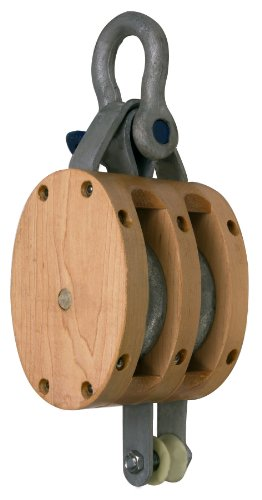 Campbell 3002K 5' Double Regular Wood Shell Block with K Screw Pin Anchor Shackle, 1800 lbs Load Capacity, 5/8' Rope, 1-3/4' Sheave