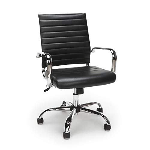 OFM Essentials Collection Soft Ribbed Bonded Leather Executive Conference Chair, in Black (ESS-6095-BLK)
