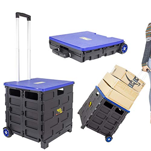 dbest products Quik Cart Pro Wheeled Rolling Crate Teacher Utility with seat Heavy Duty Collapsible Basket with Handle, Blue