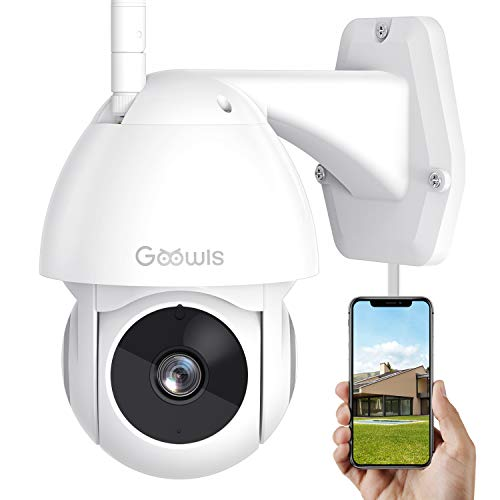 Security Camera Outdoor, Goowls 1080P HD Pan/Tilt 2.4G WiFi Home Surveillance Camera Plug-in with Waterproof Night Vision 2-Way Audio Motion Detection Activity Alert Cloud Service Works with Alexa