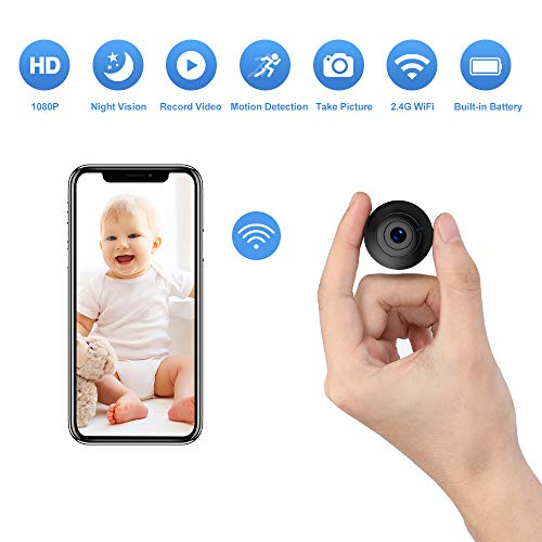OUCAM Wireless Spy Camera with Audio and Video Recording, WiFi Surveillance Camera Mini Hidden Camera Baby Monitor Nanny Cam Night Vision Motion Detection with iOS and Android