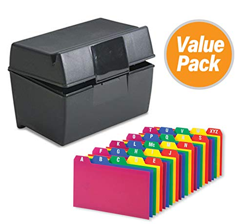 """Index Card Holder, Index Cards Storage Box Holds Up To 300 4x6"""" Cards, With Poly Card Guides A-Z, 4x6 Inch - Value Pack"""