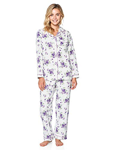 Casual Nights Women's Flannel Long Sleeve Button Down Pajama Set, White Purple, XL