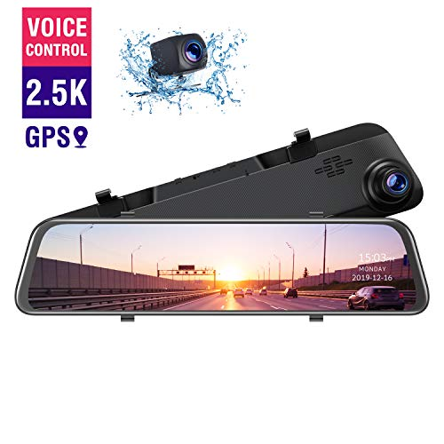 TOGUARD 2.5K Mirror Dash Cam GPS Voice Control Backup Camera, 12' Touch Screen Front and Rear Dual Lens Dash Camera for Cars Waterproof Rear View Mirror Camera with Parking Assistance Night Vision