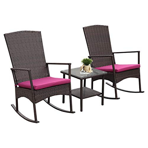 Rattaner Outdoor 3 Piece Wicker Rocking Chair Set Patio Bistro Set Conversation Furniture -2 Rocker Chair and Glass Coffee Side Table-Mix Brown Rattan& Wine Red Cushion