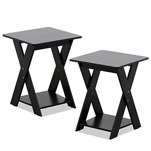 FURINNO Modern Simplistic End Table Set, 2-Pack, Espresso