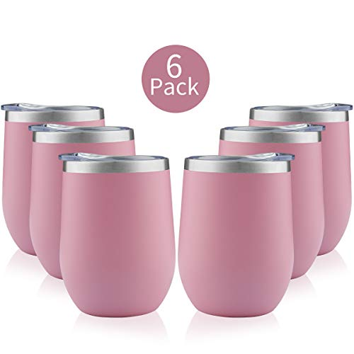 TDYDDYU 6 pack 12 OZ Stainless Steel Wine Tumbler with Lid,Wine Glass Tumbler Double Wall Vacuum Insulated Travel Tumbler Cup for Coffee, Wine, Cocktails, Ice Cream (Light pink, 6 pack)