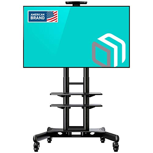 "ONKRON Mobile TV Stand TV Cart with Wheels & 2 AV Shelves for 32"" – 65 inch LCD LED OLED Flat Panel Plasma Screens up to 100 lbs Black TS1552"