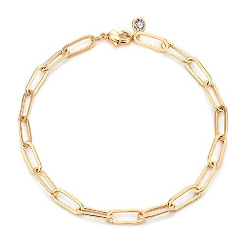 Mevecco Gold Bracelets for Women 14K Gold Plated Dainty Handmade oval chain Bracelet for Women