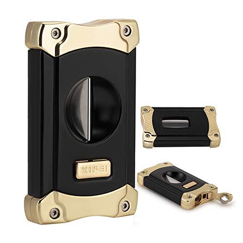 XIFEI Cigar Cutter, Stainless Steel V-Cut Cigar Cutter Built-in Cigar Puncher (Black Gold-1)
