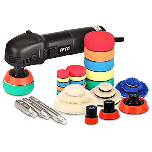 SPTA Mini Polishing Machine Buffer Rotary Polisher Auto Detailing Superpolish with 27Pcs Detail Polishing Pad Mix Size Kit Buffing Pad and 75mm,100mm,140mm M14 Thread Extension Shaft