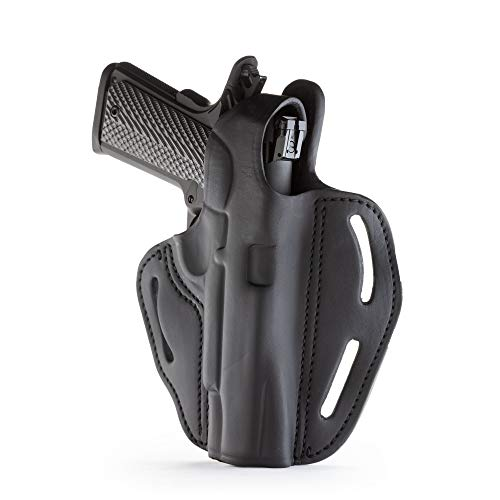 1791 GUNLEATHER 1911 Holster - Thumb Break Leather Holster - Cocked and Locked Carry - Right Hand OWB Holster for Belts - Fit 4' and 5' Barrels Stealth Black