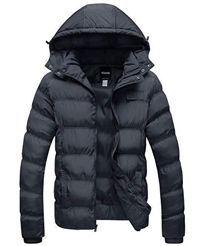 Wantdo Men's Cotton Jacket Winter Coat Hooded Outdoor Outwear Dark Gray, Large