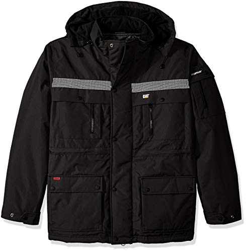 Caterpillar Men's Heavy Insulated Parka (Regular and Big & Tall Sizes), Black, X Large