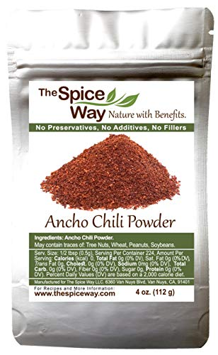 The Spice Way Premium Ancho Chile - Pure chili powder | 4 oz | made from pure dried peppers with no additives, no agents. resealable bag