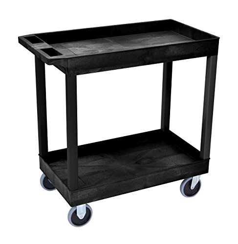 LUXOR EC11HD-B High Capacity 2 Tub Shelves Cart in Black