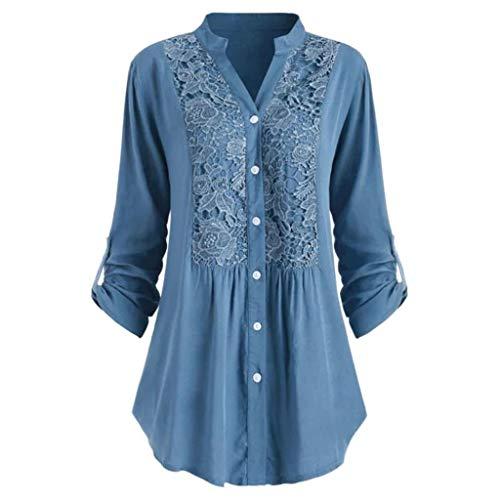 Respctful✿ Women's Casual Button Henly Shirt Lace Splice Cuffed Sleeve Flowy Loose Peplum Boho Blouse T-Shirt Tops Blue