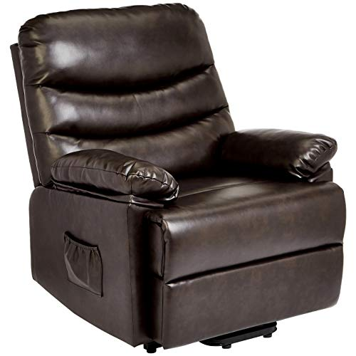 JC Home Sabadell Wall-Hugger Power-Lift Recliner with Faux-Leather Upholstery, Burnt Brûlée