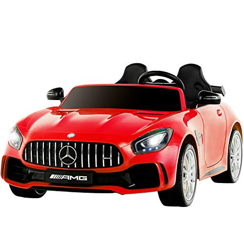 Uenjoy 2 Seater 12V Electric Kids Ride On Car Mercedes Benz AMG GTR Motorized Vehicles with Remote Control, Battery Powered, LED Lights, Wheels Suspension, Music, Horn, Compatible with Mercedes,Red