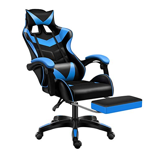 Sibosen Gaming Chair Office Chair Computer Chair High Back PU Leather Desk Chair Ergonomic Adjustable Reclining Swivel Game Chair with Footrest Lumbar Support Headrest Armrest (Blue)