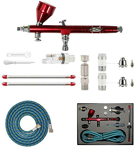 HUBEST New Professional 0.2mm/0.3mm/0.5mm Dual Action Airbrush Kit Spray Paint Gun Kit Complete Set for General-Purpose Art-and-Craft Projects Model-Railroad Detailing R/C Kits