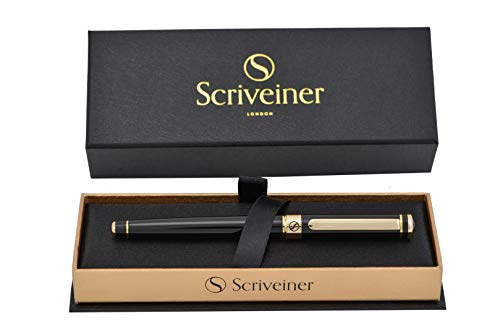 Luxury Pen by Scriveiner London - Stunning Rollerball Pen with 24K Gold Finish, Schmidt Ink Refill, Best Roller Ball Pen Gift for Men & Women, Professional, Executive Office, Nice Pens (Black Lacquer)