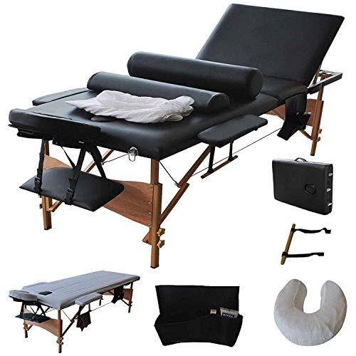 """Giantex Portable Massage Table Facial Bed 3 Fold Section, 32' Wide Arms for Salon Beauty Physiotherapy Facial SPA Tattoo Household, 84""""L Adjustable Spa Bed Table w/Sheet+Cradle Cover+2 Bolster, Black"""