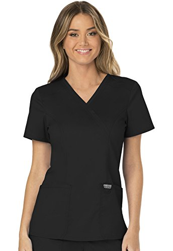 CHEROKEE Workwear WW Revolution Mock Wrap Top, WW610, S, Black