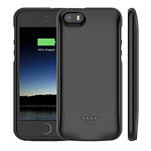 Euhan iPhone 5 /5S /SE Battery Case, 4000mAh Rechargeable Portable Power Charging Case iPhone 5 5S SE Extended Battery Pack Charger Case Ultra Thin -Black [ Not Compatible iPhone 5C ]
