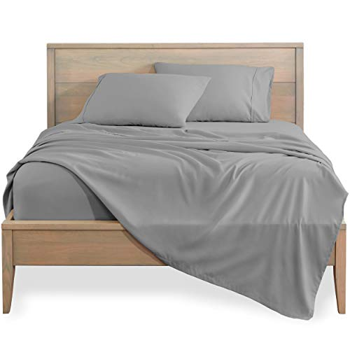 Bare Home Queen Sheet Set - 1800 Ultra-Soft Microfiber Bed Sheets - Double Brushed Breathable Bedding - Hypoallergenic – Wrinkle Resistant - Deep Pocket (Queen, Light Grey)