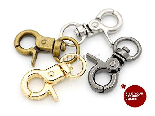 CRAFTMEMORE Lobster Claw Clasps Trigger Snap Hooks 1 1/4' x 1/2' Landyard Swivel Clip 10 Pack HO1 (Gunmetal)