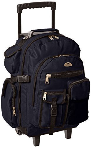 Everest Deluxe Wheeled Backpack, Navy, One Size