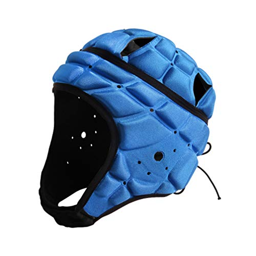 BESPORTBLE Sport Headgear Goalkeeper Soccer Goalie Helmet Head Protector Cap Support for Hockey Football Rugby (Blue Free Size)