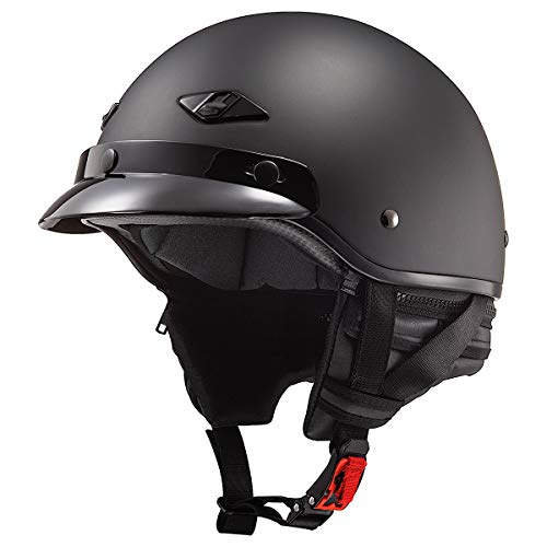 LS2 Helmets Bagger Motorcycle Half Helmet (Matte Black - Medium)