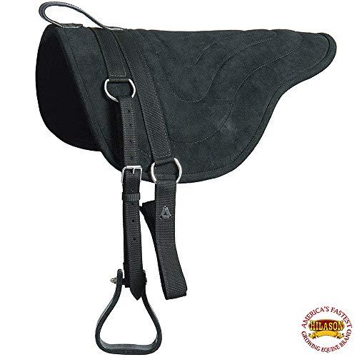 HILASON Horsemanship Leather Bareback Western Treeless Saddle Pad Black