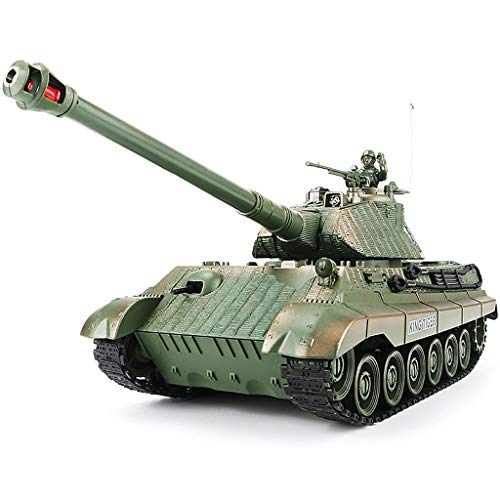 1:28 RC German King Tiger Heavy Tank of WW2,Remote Control Military Vehicles with Rotating Turret and Sound,9 Channels, Army Toys for Kids Boys,Best Age 8 9 10 11