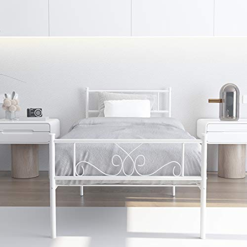WeeHom Kids Student Single Metal Bed Frame Twin Size with Unique Flower Design Sturdy Metal Frame Premium Steel Slat Support Platform Bed for Guest Room No Boxspring Need White
