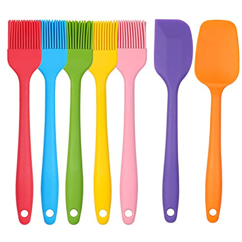 Basting Brushes Silicone Set, Listenman Heat Resistant Pastry Brushes, Includes Spatula & Spoon - Ideal Kitchen Utensils Set for BBQ Barbeque Cooking Baking, Long Handle w/Stainless Steel Core, 7Pack