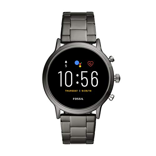 Fossil Gen 5 Carlyle HR Heart Rate Stainless Steel Touchscreen Smartwatch, Color: Smoke (Model: FTW4024)