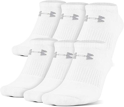 Under Armour Charged Cotton 2.0 No Show Socks, 6-Pairs, White/Gray, Shoe Size: Mens 8-12, Womens 9-12